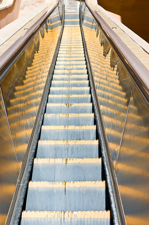 Conceptual image of stairway going down, with copyspace.