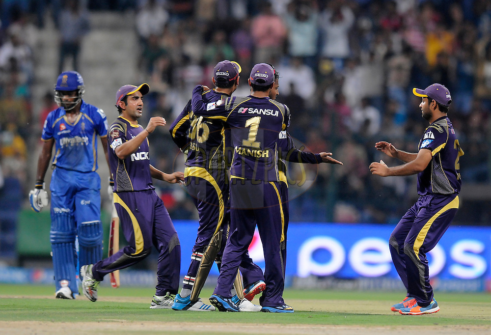 Shakib Al Hasan of the Kolkata Knight Riders celebrates the wicket of Sanju Samson of the Rajatshan Royals during match 19 of the Pepsi Indian Premier League 2014 Season between The Kolkata Knight Riders and the Rajasthan Royals held at the Sheikh Zayed Stadium, Abu Dhabi, United Arab Emirates on the 29th April 2014<br /> <br /> Photo by Pal Pillai / IPL / SPORTZPICS