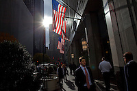 Flags along Park Avenue in New York. <br /> <br /> <br /> Photo by Robert Caplin