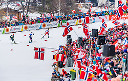 02.03.2019, Seefeld, AUT, FIS Weltmeisterschaften Ski Nordisch, Seefeld 2019, Nordische Kombination, Langlauf, Team Bewerb 4x5 km, im Bild v.l. Fabian Riessle (GER), Lukas Klapfer (AUT), Jarl Magnus Riiber (NOR) // f.l. Fabian Riessle of Germany Lukas Klapfer of Austria and Jarl Magnus Riiber of Norway during the Cross Country Team competition 4x5 km of Nordic Combined for the FIS Nordic Ski World Championships 2019. Seefeld, Austria on 2019/03/02. EXPA Pictures © 2019, PhotoCredit: EXPA/ Stefan Adelsberger