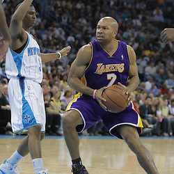 12 November 2008: Los Angeles Lakers guard Derek Fisher (2) drives past New Orleans Hornets guard Chris Paul (3) during a 93-86 win by the Los Angeles Lakers over the New Orleans Hornets at at the New Orleans Arena in New Orleans, LA..
