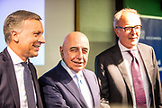 Monza mayor Dario Allevi, Adriano Galliani, new CEO, Monza president Nicola Colombo to the Press conference of SS Monza 1912, Berlusconi's family holding company Fininvest announced Friday it had acquired 100 percent of Serie C club Monza on September 28, 2018 in Monza, Italy - Photo Morgese - Rossini / ProSportsImages / DPPI