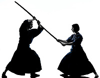 caucasian man and woman practicing laido Katori Shinto ryu isolated shadow silhouette on white background