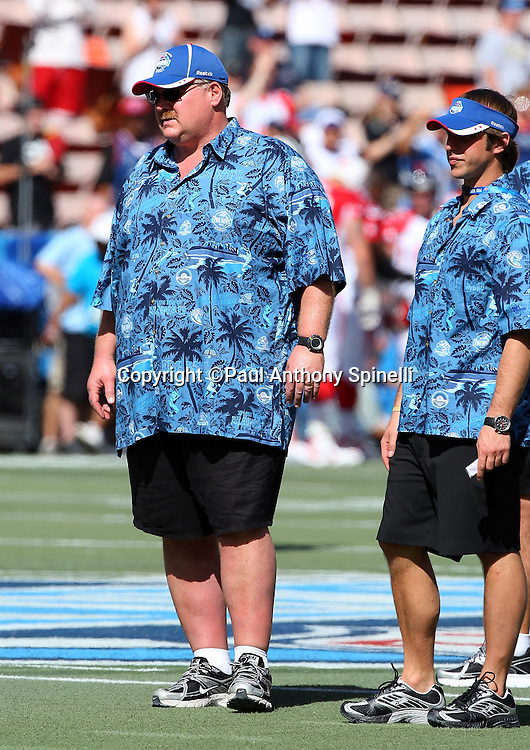 HONOLULU, HI - FEBRUARY 08: NFC All-Stars head coach Andy Reid looks on during the game against the AFC All-Stars in the 2009 NFL Pro Bowl at Aloha Stadium on February 8, 2009 in Honolulu, Hawaii. The NFC defeated the AFC 30-21. ©Paul Anthony Spinelli *** Local Caption *** Andy Reid