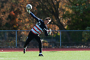 Burlington's Niels Arentzen (0) throws the ball in play during the quarterfinal boys soccer game between Mount Anthony and Burlington at Buck Hard Field on Friday afternoon October 23, 2015 in Burlington. (BRIAN JENKINS/ for the FREE PRESS)