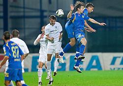 Denis Popovic of Celje vs Marko Drevensek of Domzale and Jovan Vidovic of Domzale  during the football match between NK Domzale and MIK CM Celje, played in the 10th Round of Prva liga football league 2010 - 2011, on September 22, 2010, Spors park, Domzale, Slovenia. Domzale defeated Celje 1 - 0. (Photo by Vid Ponikvar / Sportida)