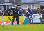 Eastleigh's Yemi Odubade goes off injured during the The FA Cup third round match between Eastleigh and Bolton Wanderers at Silverlake Stadium, Ten Acres, Eastleigh, United Kingdom on 9 January 2016. Photo by Graham Hunt.
