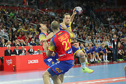 Joan Canellas (Spain ) and Mattias Zachrisson (Sweden) during the EHF 2018 Men's European Championship, Final Handball match between Spain and Sweden on January 28, 2018 at the Arena in Zagreb, Croatia - Photo Laurent Lairys / ProSportsImages / DPPI