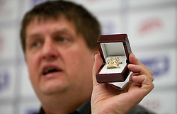 Roman Lisac, general manager of NLB League with a diamond ring for winners during press conference of NLB Basketball League one day before NLB Final Four Tournament 2011, on April 18, 2011 in Arena Stozice, Ljubljana, Slovenia.  (Photo By Vid Ponikvar / Sportida.com)