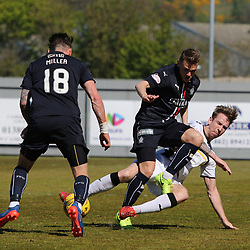 Robert Thomson slides in  during the Dumbarton v Falkirk Scottish Championship 06 May 2017<br /> <br /> <br /> <br /> <br /> <br /> (c) Andy Scott | SportPix.org.uk