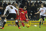 Blackburn Rovers midfielder Jordi Gomez strikes the ball at goal during the Sky Bet Championship match between Derby County and Blackburn Rovers at the iPro Stadium, Derby, England on 24 February 2016. Photo by Aaron  Lupton.