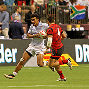 Joe Perez valiantly strives to create a spark in Manu Samoa's scoreless second half in their demoralizing 21-14 loss to Wales in Day 1 Canada 7's, BC Place, Vancouver, Canada.  Photo by Barry Markowitz, 3/11/17