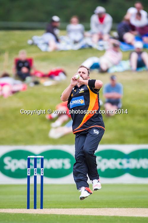 Mark Gillespie bowls for the Wellington Firebirds - Ford Trophy - Volts v Firebirds, Queenstown Events Centre, Queenstown<br /> List-A Match, 30 December 2014, CREDIT: Libby Law/www.photosport.co.nz