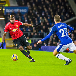 Paul Pogba of Manchester United  on the ball during the Premier League match between Everton and Manchester United, Goodison Park, Monday 1st January 2018<br /> (c) John Baguley | SportPix.org.uk