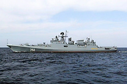 May 5, 2017 - Russia - May 5, 2017. - Russia. The Black Sea Fleet's advanced frigate Admiral Essen has joined the Russian Navy's permanent task force in the Mediterranean Sea. The Russian Navy's permanent Mediterranean task force currently includes the Black Sea Fleet's two same-type frigates Admiral Grigorovich and Admiral Essen. In picture: frigate Admiral Essen. Photo from Russian Defence Ministry Facebook page. (Credit Image: © Russian Look via ZUMA Wire)