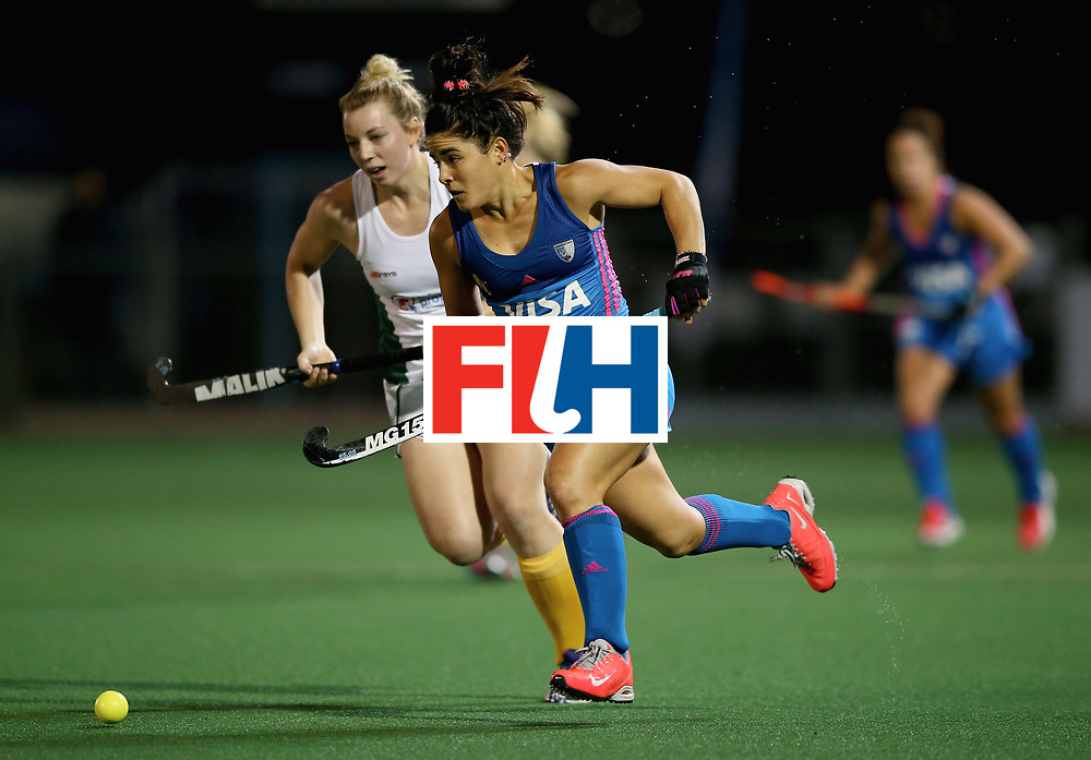 JOHANNESBURG, SOUTH AFRICA - JULY 12: Maria Granatto of Argentina and Nicole Walraven of South Africa battle for possession  during day 3 of the FIH Hockey World League Semi Finals Pool B match between South Africa and Argentina at Wits University on July 12, 2017 in Johannesburg, South Africa. (Photo by Jan Kruger/Getty Images for FIH)