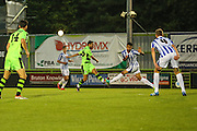 Forest Green Rovers Fabien Robert (26) shoots at goal scores a goal 1-0 during the Gloucestershire Senior Cup match between Forest Green Rovers and Cheltenham Town at the New Lawn, Forest Green, United Kingdom on 20 September 2016. Photo by Shane Healey.