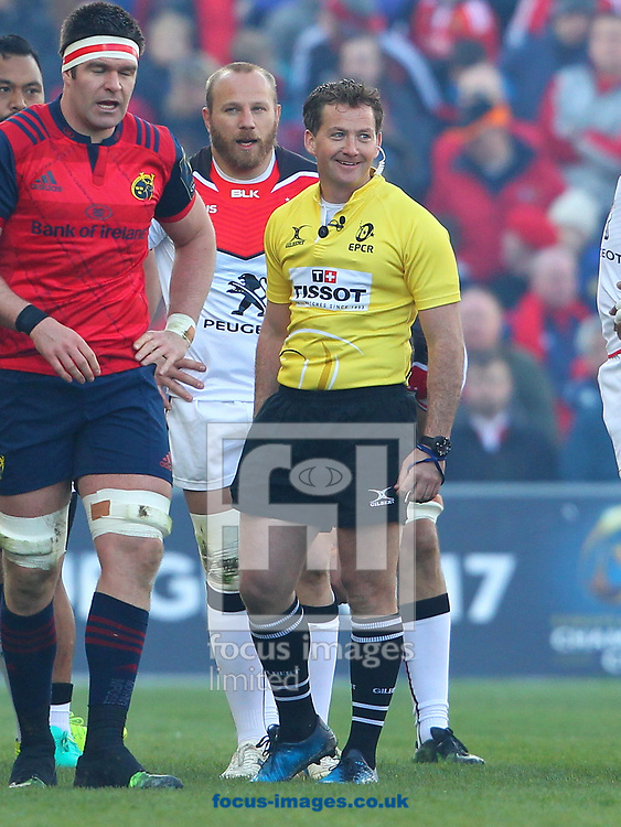 Match referee JP Doyle during the European Rugby Champions Cup match at Thomond Park, Limerick<br /> Picture by Yannis Halas/Focus Images Ltd +353 8725 82019<br /> 01/04/2017