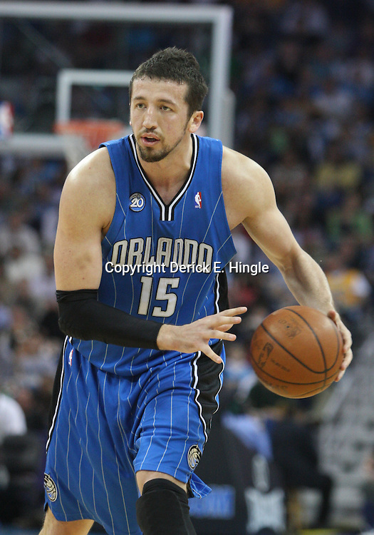 18 February 2009: Orlando Magic forward Hedo Turkoglu (15) drives with the ball during a NBA basketball game between the Orlando Magic and the New Orleans Hornets at the New Orleans Arena in New Orleans, Louisiana.