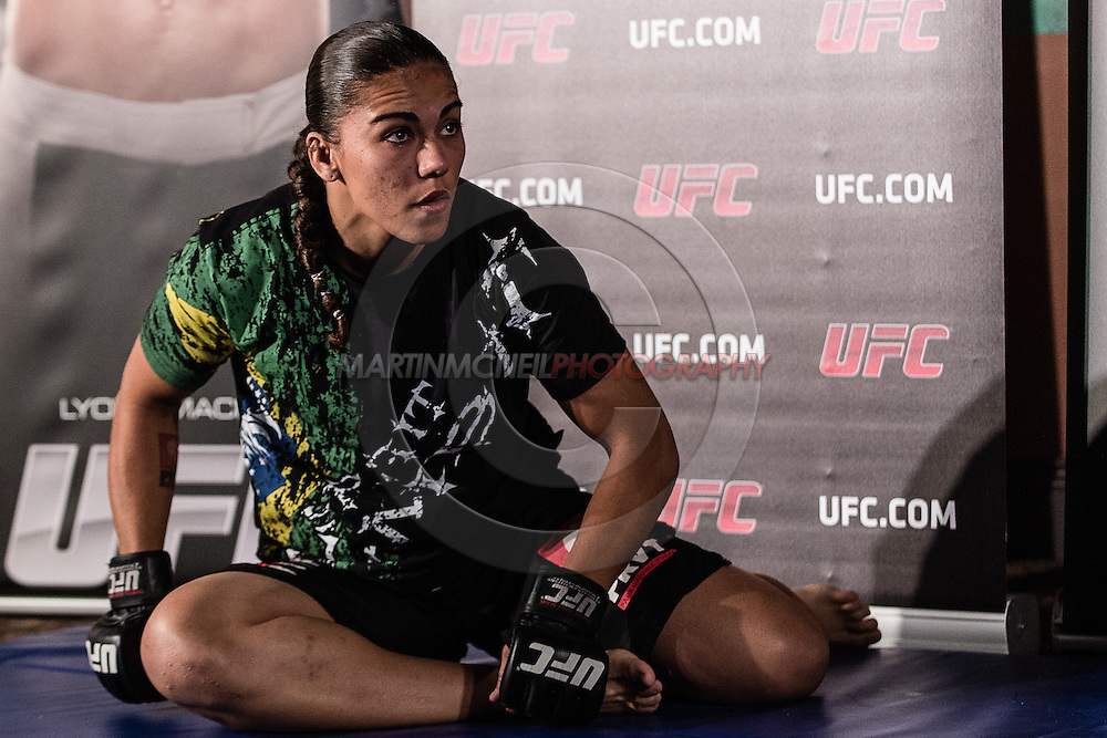"""MANCHESTER, ENGLAND, NOVEMBER 23, 2013: Jessica Andrade is pictured at the media open work-out sessions for """"UFC Fight Night 30: Machida vs. Munoz"""" inside Bierkeller Shooter's Sports Bar in The Printworks, Manchester (Martin McNeil for ESPN)"""