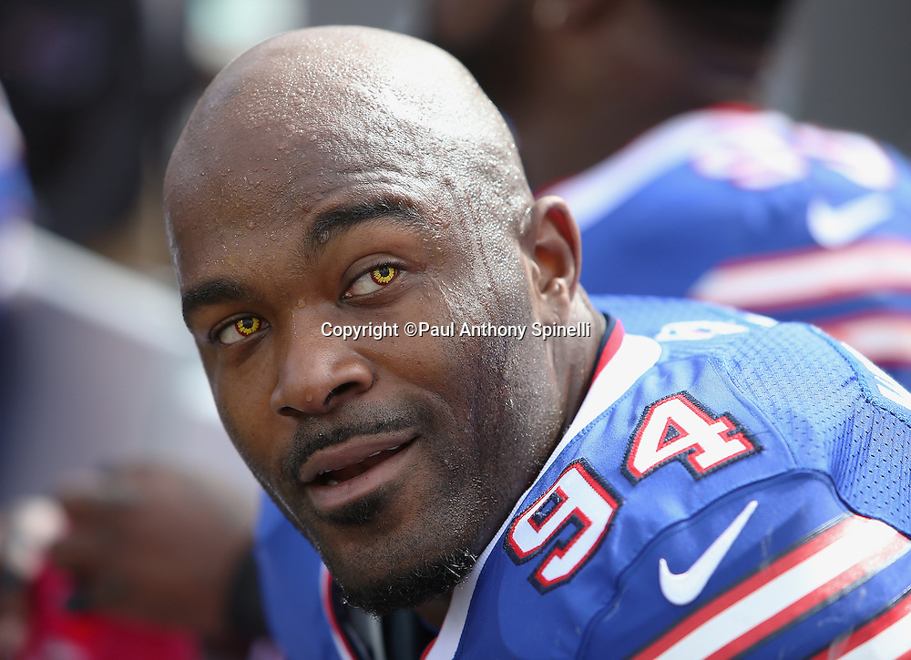 Buffalo Bills defensive end Mario Williams (94) checks out the scoreboard while wearing colored contact lenses during the 2015 NFL week 4 regular season football game against the New York Giants on Sunday, Oct. 4, 2015 in Orchard Park, N.Y. The Giants won the game 24-10. (©Paul Anthony Spinelli)