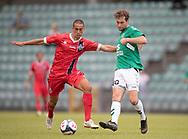 Emil Erbas (FC Helsingør) og Sylvester Seeger-Hansen (AB) under kampen i Sydbank Pokalen, 1. runde,  mellem AB og FC Helsingør den 6. august 2019 på Gladsaxe Stadion (Foto: Claus Birch).