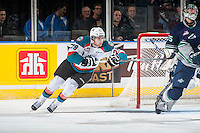 KELOWNA, CANADA - JANUARY 16: Leon Draisaitl #29 of Kelowna Rockets skates behind the net against the Seattle Thunderbirds on January 16, 2015 at Prospera Place in Kelowna, British Columbia, Canada.  (Photo by Marissa Baecker/Shoot the Breeze)  *** Local Caption *** Leon Draisaitl;