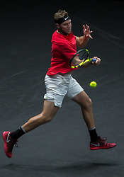 September 23, 2017 - Prague, Czech Republic - Team World player Jack Sock of United States returns the ball to Team Europe player Rafael Nadal of Spain during the first day at Laver Cup on Sept 23, 2017 in Prague, Czech Republic.  The Laver Cup consists of six European players competing against their counterparts from the rest of the World. Europe will be captained by Bjorn Borg and John McEnroe will captain the Rest of the World team. The first Laver Cup held in Europe, at the O2 arena Prague from September 22-24, 2017. (Credit Image: © Robert Szaniszlo/NurPhoto via ZUMA Press)