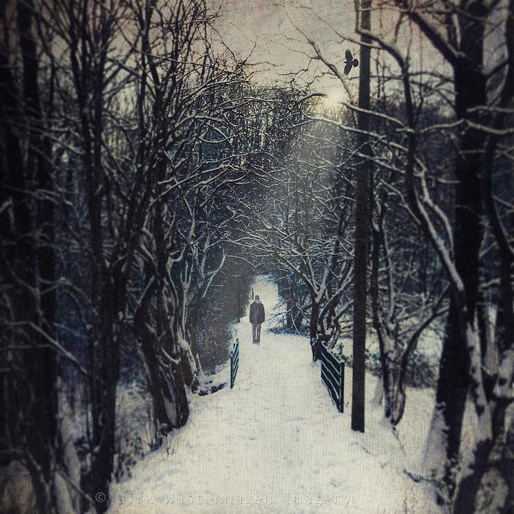 Man walking through a snowy winter forest<br /> <br /> License: http://www.westend61.de/koala2/imgsearch.html?number=DWI000425&amp;mode=pv