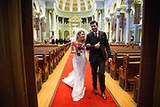 Bride and Groom celebrate their Catholic wedding at the Presidio in San Francisco, California, on July 1, 2016. (Stan Olszewski/SOSKIphoto)
