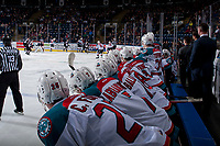 KELOWNA, CANADA - MARCH 7: The Kelowna Rockets bench against the Vancouver Giants  on March 7, 2018 at Prospera Place in Kelowna, British Columbia, Canada.  (Photo by Marissa Baecker/Shoot the Breeze)  *** Local Caption ***