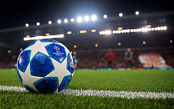 LIVERPOOL, ENGLAND - Tuesday, December 11, 2018: The official Adidas match-ball during the pre-match warm-up before the UEFA Champions League Group C match between Liverpool FC and SSC Napoli at Anfield. (Pic by David Rawcliffe/Propaganda)