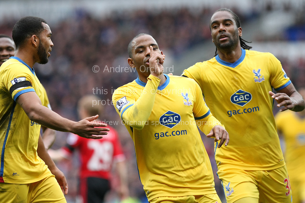 Jason Puncheon of Crystal Palace &copy; celebrates after scoring his side's first goal. Barclays Premier league match, Cardiff city v Crystal Palace at the Cardiff city stadium in Cardiff, South Wales on Saturday 5th April 2014.<br /> pic by Mark Hawkins, Andrew Orchard sports photography.