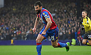 Mile jedinak gives chase during the Barclays Premier League match between Crystal Palace and Watford at Selhurst Park, London, England on 13 February 2016. Photo by Michael Hulf.