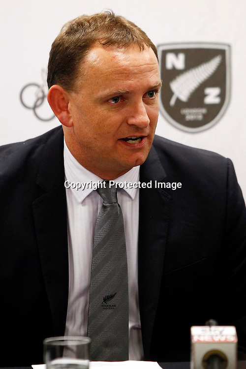 New Zealand Football CEO Grant McKavanagh, New Zealand Women's Olympic Football team announcement ahead of the 2012 London Olympic Games. North Harbour Stadium, Albany, Auckland. 29 June 2012. Photo: William Booth/photosport.co.nz