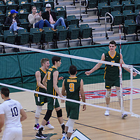 Cougars celebrating during the Men's Volleyball Home Game vs Trinity Western  on October 28 at the CKHS University of Regina. Credit Matt Johnson/Arthur Images