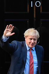 © Licensed to London News Pictures. 08/10/2019. LONDON, UK.  Boris Johnson, Prime Minister, outside Number 10 Downing Street, ahead of talks with David Sassoli, President of the European Parliament (not pictured).  Photo credit: Stephen Chung/LNP