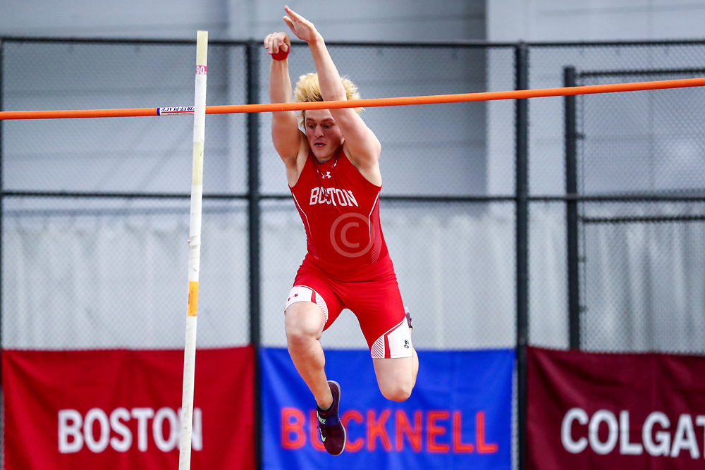 mens pole vault, BU, Saligman<br /> Boston University Scarlet and White<br /> Indoor Track & Field, Bruce LeHane
