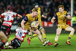 Will Hurrell of Bristol Rugby is tackled by Billy Burns of Gloucester Rugby - Rogan Thomson/JMP - 03/12/2016 - RUGBY UNION - Kingsholm Stadium - Gloucester, England - Gloucester Rugby v Bristol Rugby - Aviva Premiership.