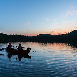 Canoeing in Perch Pond in Aroostook County, Maine. Deboullie Public Reserve Land.