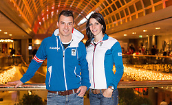 28.01.2014,  Marriott, Wien, AUT, Sochi 2014, Einkleidung OeOC, im Bild Matthias Guggenberger (Skeleton, AUT) und Janine Flock (Skeleton, AUT) // Matthias Guggenberger (Skeleton, AUT) with Janine Flock (Skeleton, AUT) during the outfitting of the Austrian National Olympic Committee for Sochi 2014 at the  Marriott in Vienna, Austria on 2014/01/28. EXPA Pictures © 2014, PhotoCredit: EXPA/ JFK