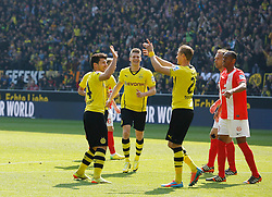 19.04.2014, Signal Iduna Park, Dortmund, GER, 1. FBL, Borussia Dortmund vs 1. FSV Mainz 05, 31. Runde, im Bild Oliver Kirch (Borussia Dortmund #21) und Torschuetze Milos Jojic (Borussia Dortmund #14) beim Torjubel nach dem Treffer zum 1:0 mit Lukasz Piszczek (Borussia Dortmund #26 - mitte) // during the German Bundesliga 31th round match between Borussia Dortmund and 1. FSV Mainz 05 at the Signal Iduna Park in Dortmund, Germany on 2014/04/19. EXPA Pictures © 2014, PhotoCredit: EXPA/ Eibner-Pressefoto/ Schueler<br /> <br /> *****ATTENTION - OUT of GER*****