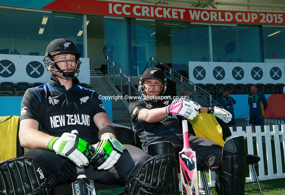 Martin Guptill and Brendon McCullum of New Zealand openers before the ICC Cricket World Cup warm up game between New Zealand v South Africa at Hagley Oval, Christchurch. 11 February 2015 Photo: Joseph Johnson / www.photosport.co.nz