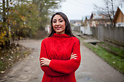Portrait of Roma activist Rodica-Elena Tudor in Marginenii de Jos. Rodica-Elena is the president of the Resources Center for Social Inclusion CRIS and a student of law in Bucharest. She is the daughter of Roma activist Gheorghe Tudor and the sister of Marius.