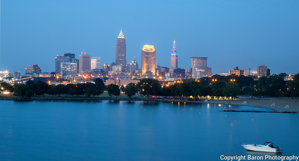 Cleveland skyline from Edgewater Park looking east