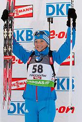 09.12.2011, Biathlonzentrum, Hochfilzen, AUT, E.ON IBU Weltcup, 2. Biathlon, Podium Damen 7,5km Sprint, im Bild Olga Zaitseva (RUS, 3. Rang) // dirt place Olga Zaitseva of Russia podium women 7.5km Sprint at E.ON IBU Worldcup 2th Biathlon, Hochfilzen, Austria on 2011/12/09. EXPA Pictures © 2011, PhotoCredit: EXPA/ Johann Groder