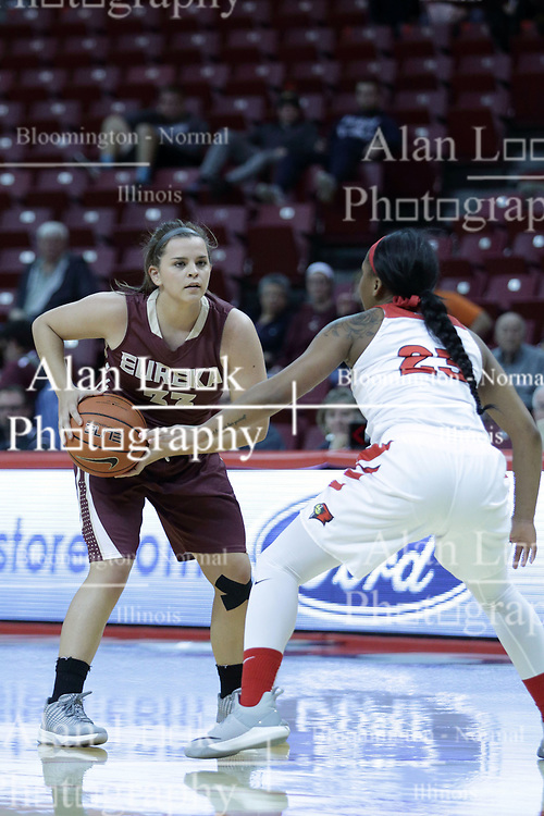 01 November 2017: Samantha Sarnes looks for a way past Viria Livingston  during a Exhibition College Women's Basketball game between Illinois State University Redbirds the Red Devils of Eureka College at Redbird Arena in Normal Illinois.