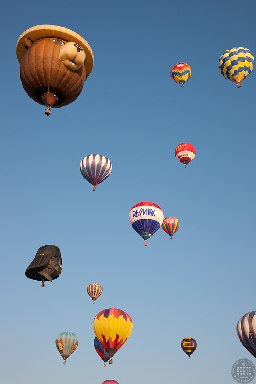 """""""Hot Air Balloons 3"""" - These hot air balloons were photographed during the 2011 Great Reno Balloon Race."""