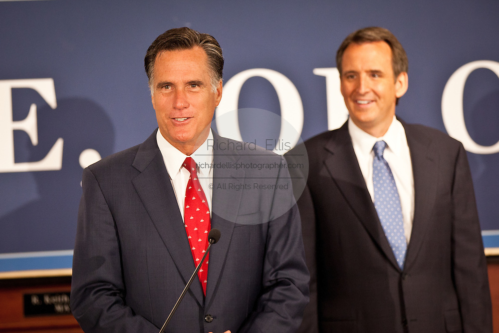 Gov. Mitt Romney thanks Gov. Tim Pawlenty for his endorsement on September 12, 2011 in North Charleston, South Carolina.  Pawlenty who quit the Republican nomination last month endorsed Romney for President.