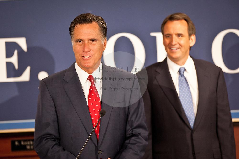 Gov. Mitt Romney thanks Gov. Tim Pawlenty for his endorsement on September 12, 2011 in North Charleston, South Carolina.  Pawlenty who quit the Republican nomination last month endorsed Romney for President.